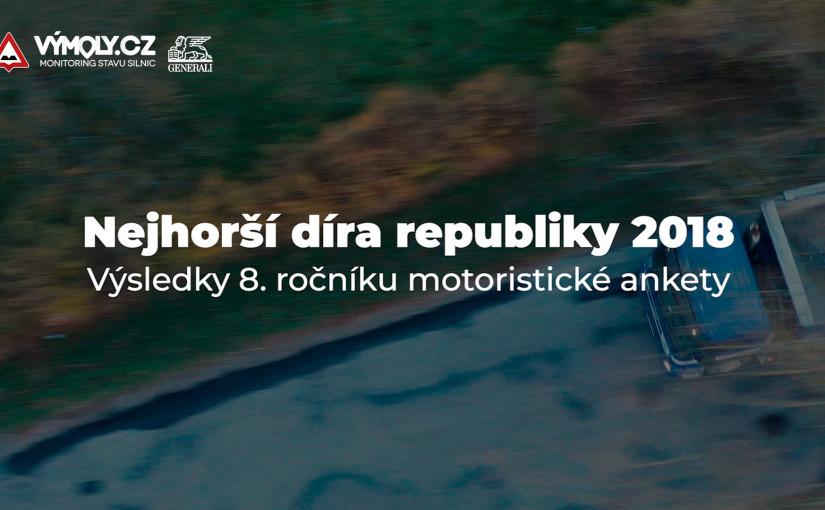 Projekt Výmoly.cz vyhlásily nejhorší díry na českých silnicích v roce 2018